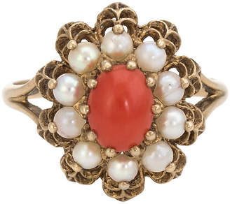 One Kings Lane Vintage Red Coral Cultured Pearl Cocktail Ring - Precious & Rare Pieces