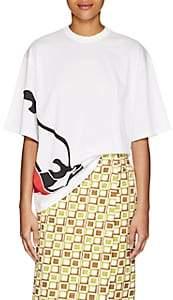 Prada Women's Flame-Shoe-Print Cotton T-Shirt-White