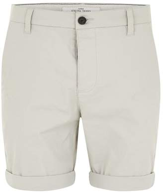 Topman Light Grey Stretch Skinny Chino Shorts