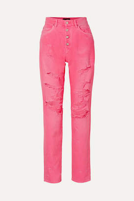 Amiri Distressed High-rise Jeans - Bright pink