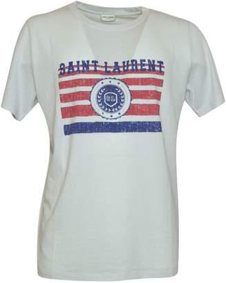 Saint Laurent Distressed Logo Flag Print T-shirt