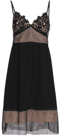 Paneled Guipure Lace Crochet And Crepe Dress