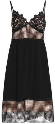Theory Paneled Guipure Lace Crochet And Crepe Dress