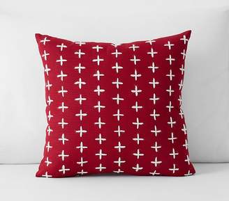 Pottery Barn Kids Criss Cross Embroidered Pillow, 16x16, Red