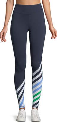 Tory Sport Striped Full-Length Performance Leggings