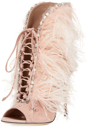 Giuseppe Zanotti Jeweled Feather Suede Lace-Up Bootie $1,995 thestylecure.com
