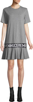 Opening Ceremony OC Elastic Logo Crewneck Short-Sleeve Cotton T-Shirt Dress