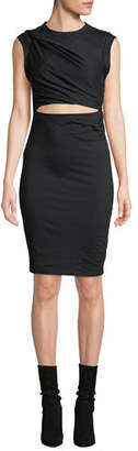 Alexander Wang Twisted Cutout Fitted Sleeveless Jersey Dress