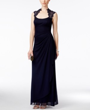 Xscape Evenings X by Stand-Collar Illusion Back Gown