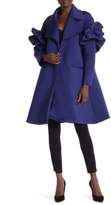 CQ by CQ Ruffle Detail Sleeve A-Line Coat