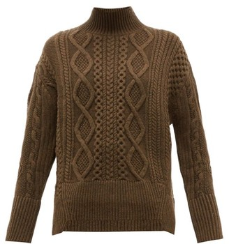 Proenza Schouler Cable Knit Wool Sweater - Womens - Dark Green