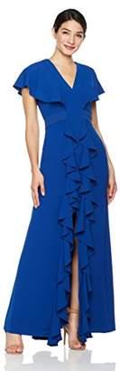 Social Graces Women's V-Neck Ruffle Evening Gown 8