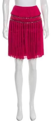 Alberta Ferretti Fringe-Accented Silk Skirt