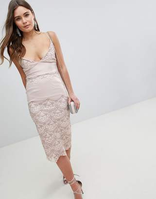 Asos Delicate Placement Lace Cami Midi Pencil Dress