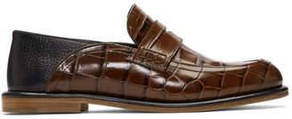 Loewe Brown Croc Slip-On Loafers