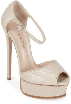 Casadei Women's Peep Toe Leather Stiletto Pumps