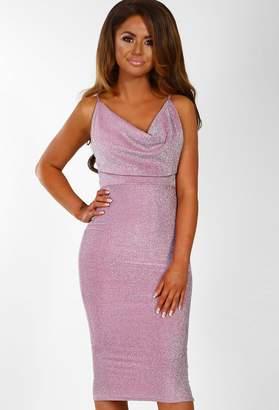 b949b2bf42 Pink Boutique Style Star Pink Lurex Cowl Neck Bodycon Midi Dress