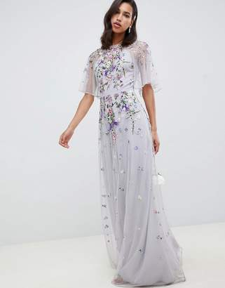 Asos Design DESIGN Floral embroidered dobby mesh flutter sleeve maxi dress