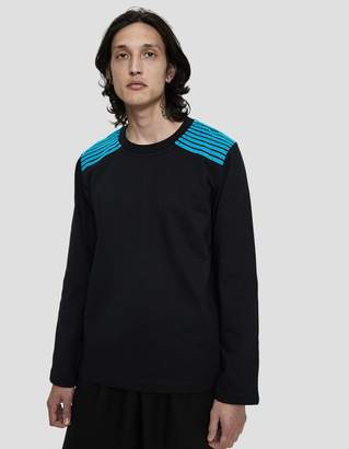 Dima Leu Velvet Stripe T-Shirt in Turquoise