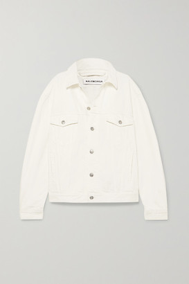 Balenciaga Oversized Embroidered Denim Jacket - White