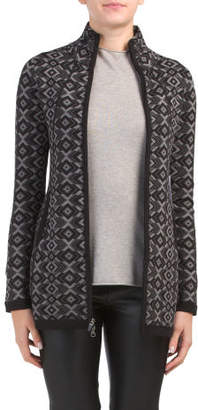 Fairisle Zip Up Mock Neck Cardigan