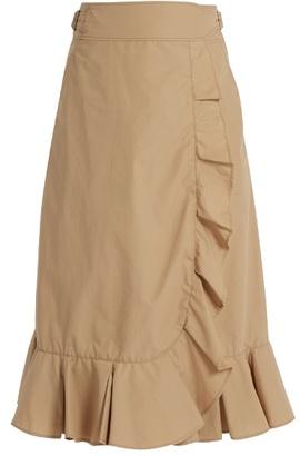 Muveil Ruffled cotton-blend poplin wrap skirt