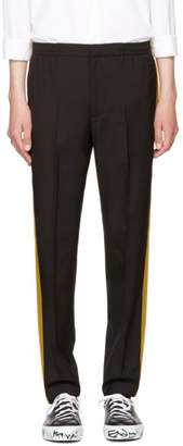 Alexander McQueen Black Satin Side Band Trousers