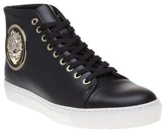 Versus New Mens Black Logo High Top Leather Trainers Hi Lace Up