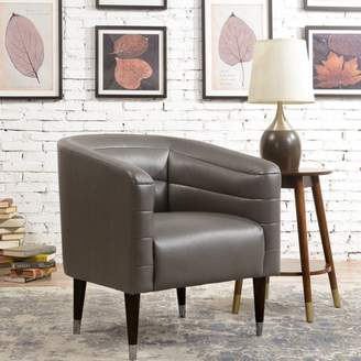 HomeFare Modern Style Charcoal Faux Leather Club Chair