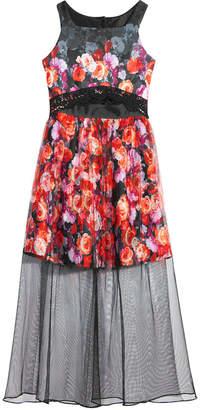 Bonnie Jean Big Girls Floral-Print Mesh Scuba Maxi Dress