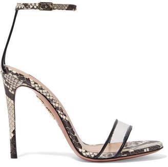 Aquazzura Minimalist 105 Leather-trimmed Elaphe And Pvc Sandals - Snake print