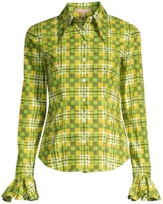 Michael Kors Madras Check Bell-Sleeve Button-Down Shirt