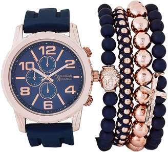 American Exchange MST5585 Rose Gold-Tone & Blue Watch & Bracelet Set