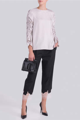 Tibi Twill Shirred Top