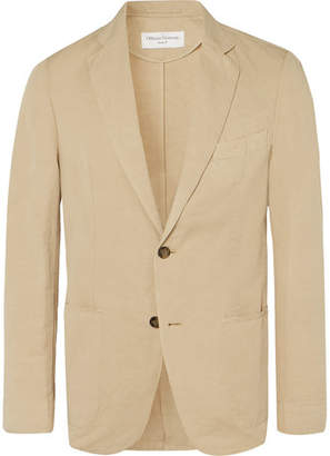 Tan Slim-Fit Unstructured Garment-Dyed Cotton And Linen-Blend Suit Jacket