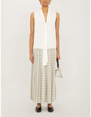 Theory Tie-scarf crepe top