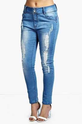 boohoo Plus High Waisted Stretch Skinny Jeans