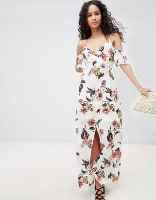 Parisian Cold Shoulder Floral Maxi Dress