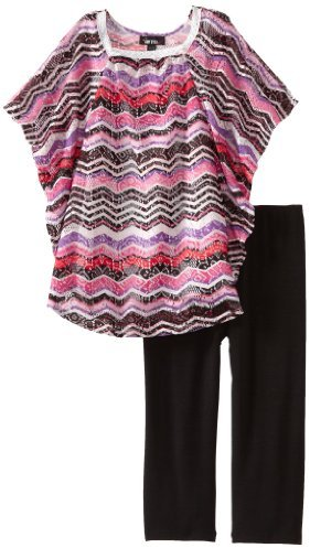 Amy Byer Girls 7-16 Plus-Size Crochet Poncho Legging Set