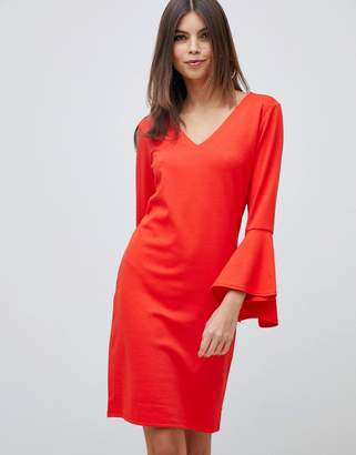 Vila fluted sleeve mini dress in red