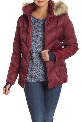 Nautica Faux Fur Trimmed Hooded Puffer Coat With Stretch