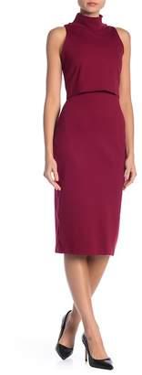 Vanity Room Mock Neck Popover Midi Knit Dress