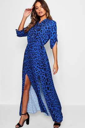 boohoo Leopard Print Double Split Maxi Shirt Dress