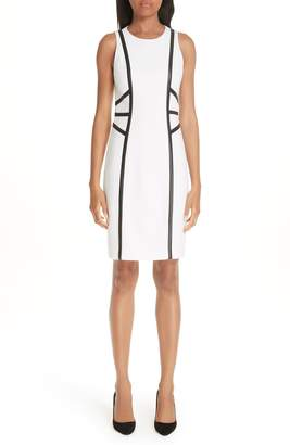 Michael Kors Leather Trim Boucle Crepe Sheath Dress