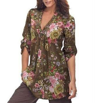 Billila Women Vintage Floral Print V-neck Tunic Women's Fashion Plus Size Tops (XXXL, )
