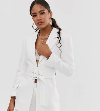 Club L London Tall longline blazer with belt detail in white
