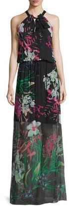 Elie Tahari Cayla Halter-Neck Floral-Print Maxi Dress, Black $298 thestylecure.com