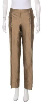 Max Mara Mid-Rise Metallic Straight-Leg Pants Bronze Mid-Rise Metallic Straight-Leg Pants