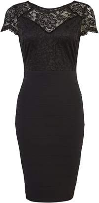 Dorothy Perkins Womens **Black Lace Mix Bandage Bodycon Dress