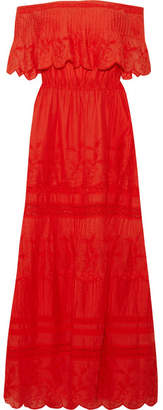 Alice + Olivia Alice Olivia - Pansy Off-the-shoulder Embroidered Cotton Maxi Dress $535 thestylecure.com